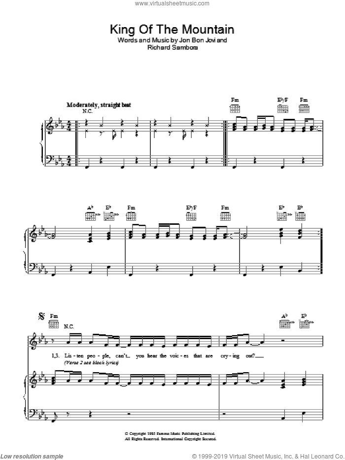 King Of The Mountain sheet music for voice, piano or guitar by Bon Jovi and Richie Sambora, intermediate. Score Image Preview.