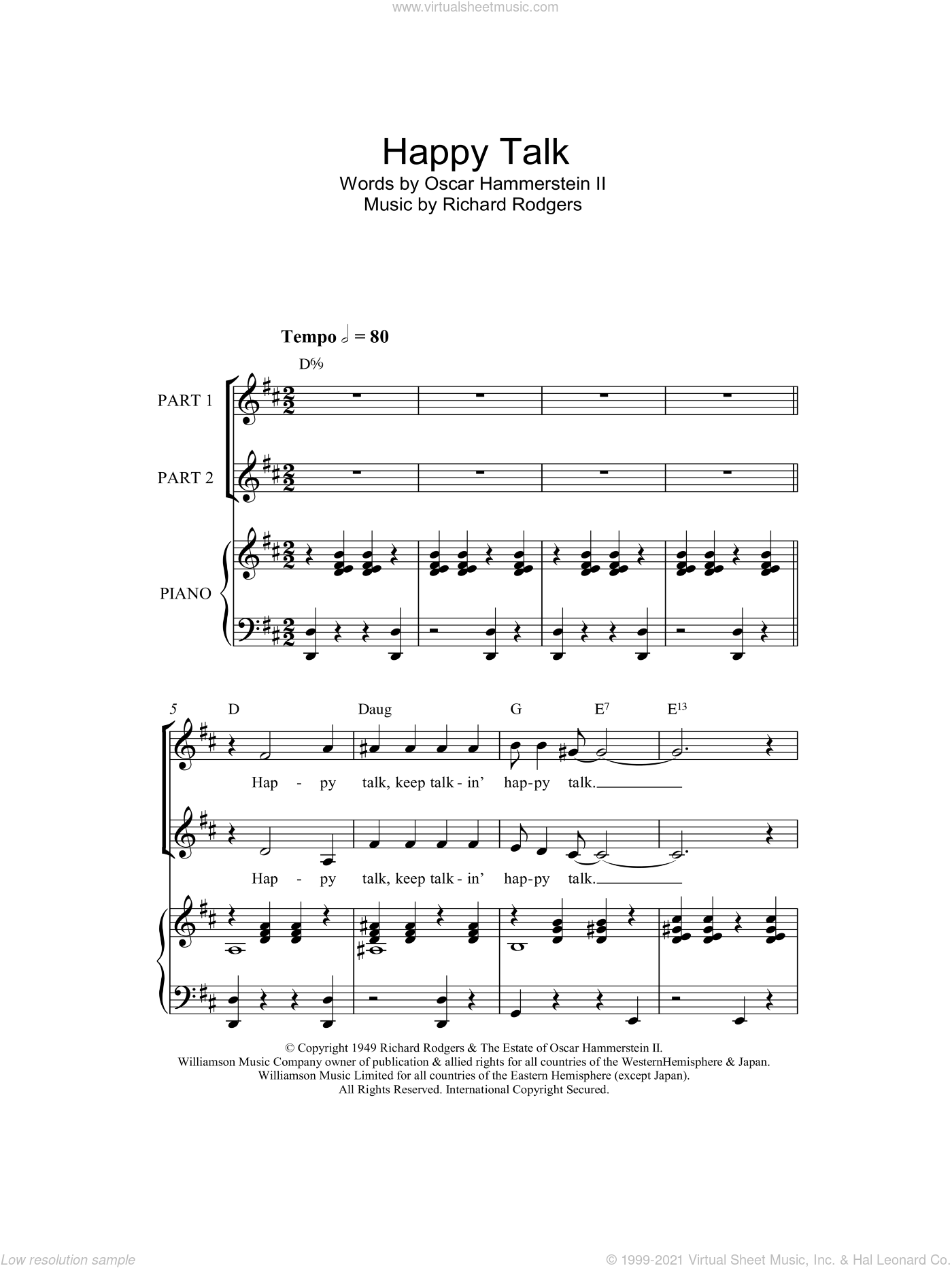 Happy Talk sheet music for choir and piano (duets) by Richard Rodgers, Rodgers & Hammerstein and Oscar Hammerstein. Score Image Preview.