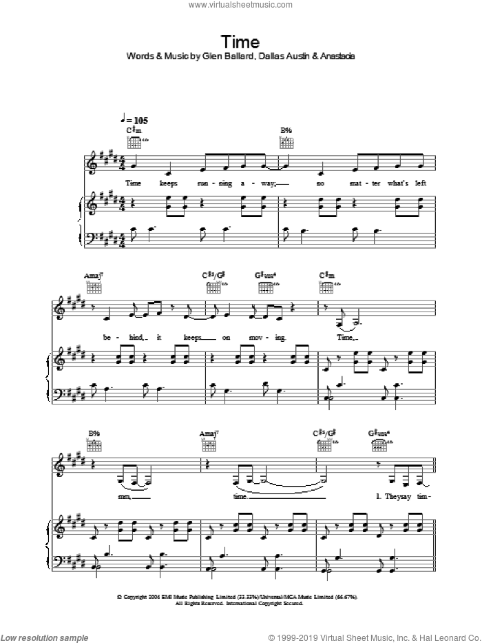 Time sheet music for voice, piano or guitar by Anastacia. Score Image Preview.