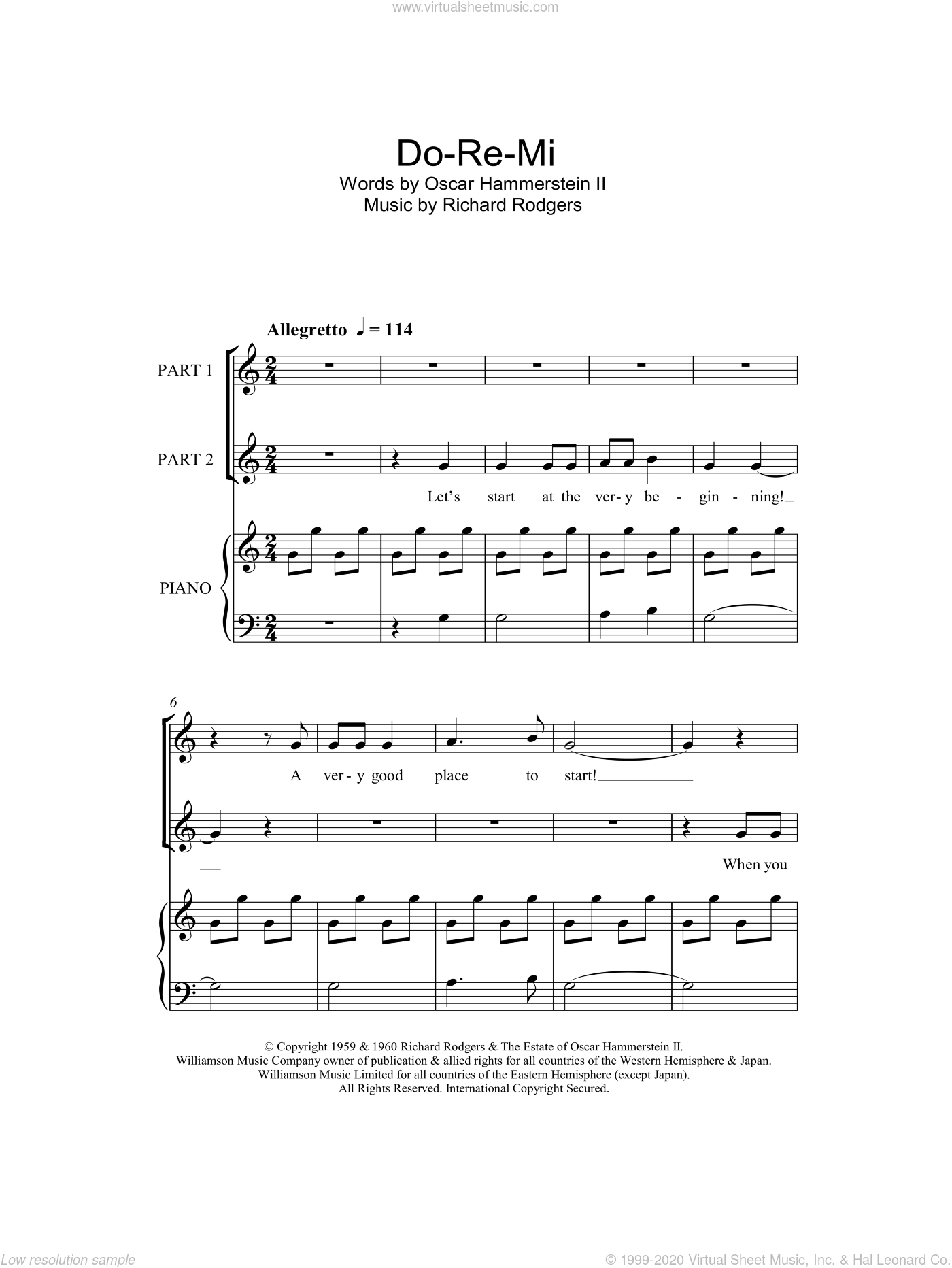 Do-Re-Mi sheet music for choir and piano (duets) by Richard Rodgers, Rodgers & Hammerstein and Oscar II Hammerstein. Score Image Preview.