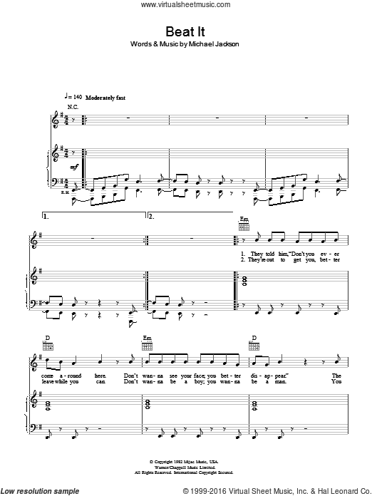 Beat It sheet music for voice, piano or guitar by Michael Jackson. Score Image Preview.