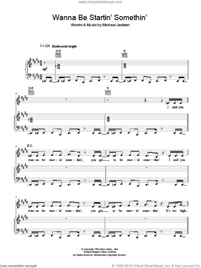 Wanna Be Startin' Somethin' sheet music for voice, piano or guitar by Michael Jackson. Score Image Preview.
