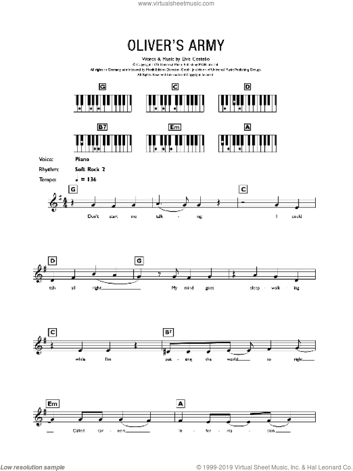 Oliver's Army sheet music for piano solo (chords, lyrics, melody) by Elvis Costello, intermediate piano (chords, lyrics, melody)