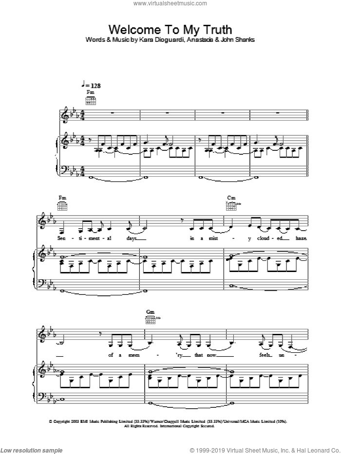 Welcome To My Truth sheet music for voice, piano or guitar by Anastacia