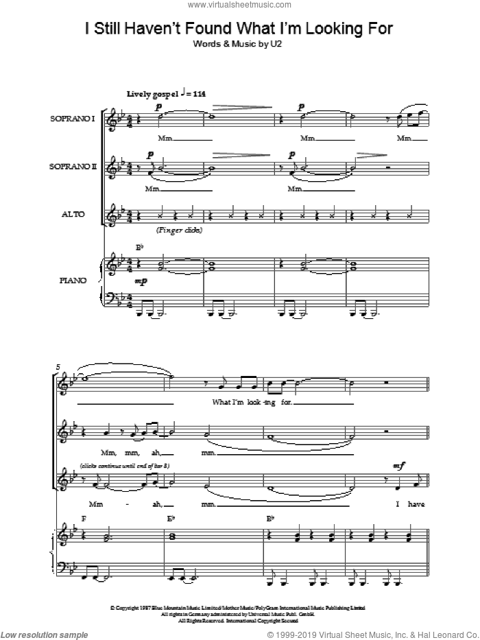I Still Haven't Found What I'm Looking For sheet music for choir (soprano voice, alto voice, choir) by U2. Score Image Preview.