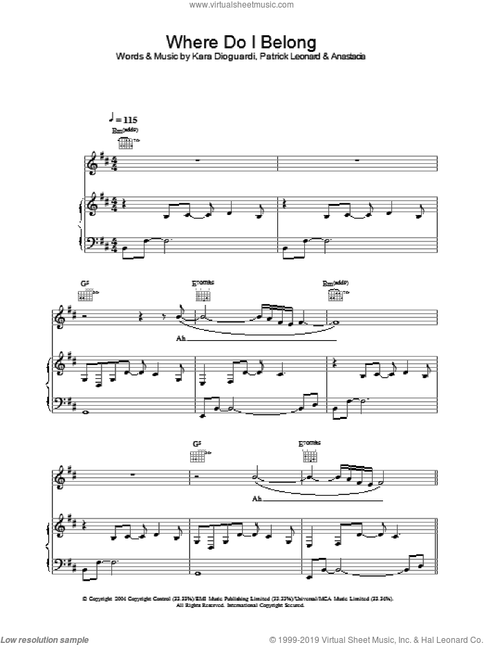 Where Do I Belong sheet music for voice, piano or guitar by Anastacia