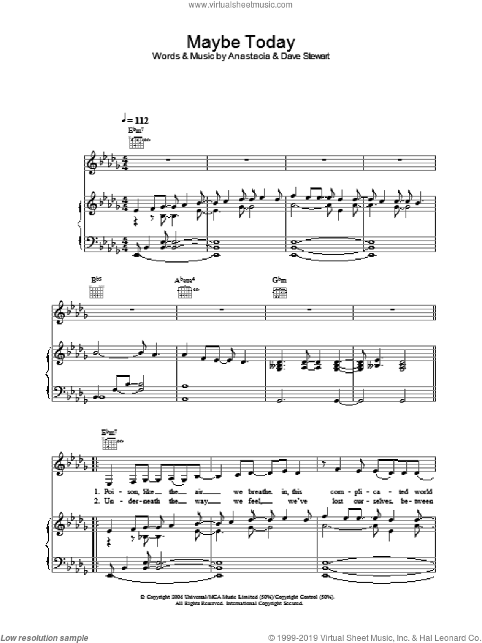 Maybe Today sheet music for voice, piano or guitar by Anastacia
