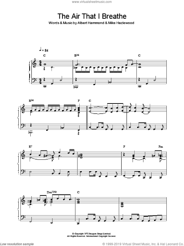 The Air That I Breathe sheet music for piano solo by Albert Hammond, The Hollies and Michael Hazlewood. Score Image Preview.