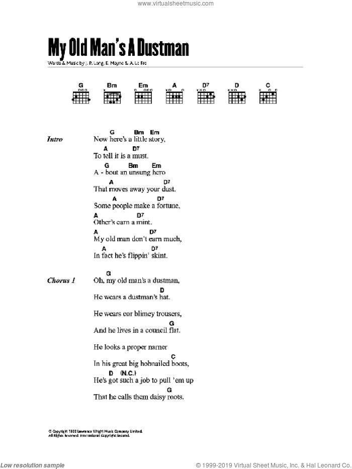 My Old Man's A Dustman sheet music for guitar (chords) by Beverly Thorn, Lonnie Donegan and Peter Buchanan