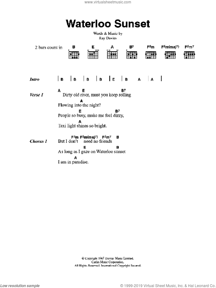 Waterloo Sunset sheet music for guitar (chords) by The Kinks and Ray Davies, intermediate
