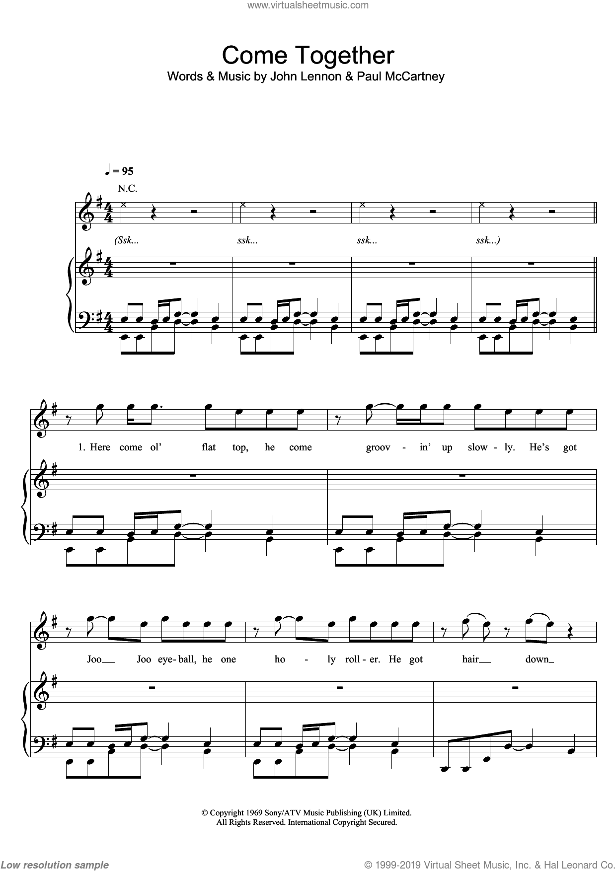 Come Together sheet music for voice, piano or guitar by Paul McCartney, Michael Jackson, The Beatles and John Lennon, intermediate skill level