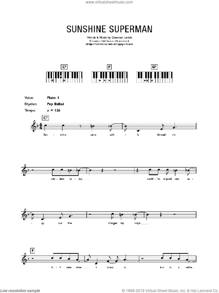 Sunshine Superman sheet music for piano solo (chords, lyrics, melody) by Donovan Leitch and Walter Donovan. Score Image Preview.