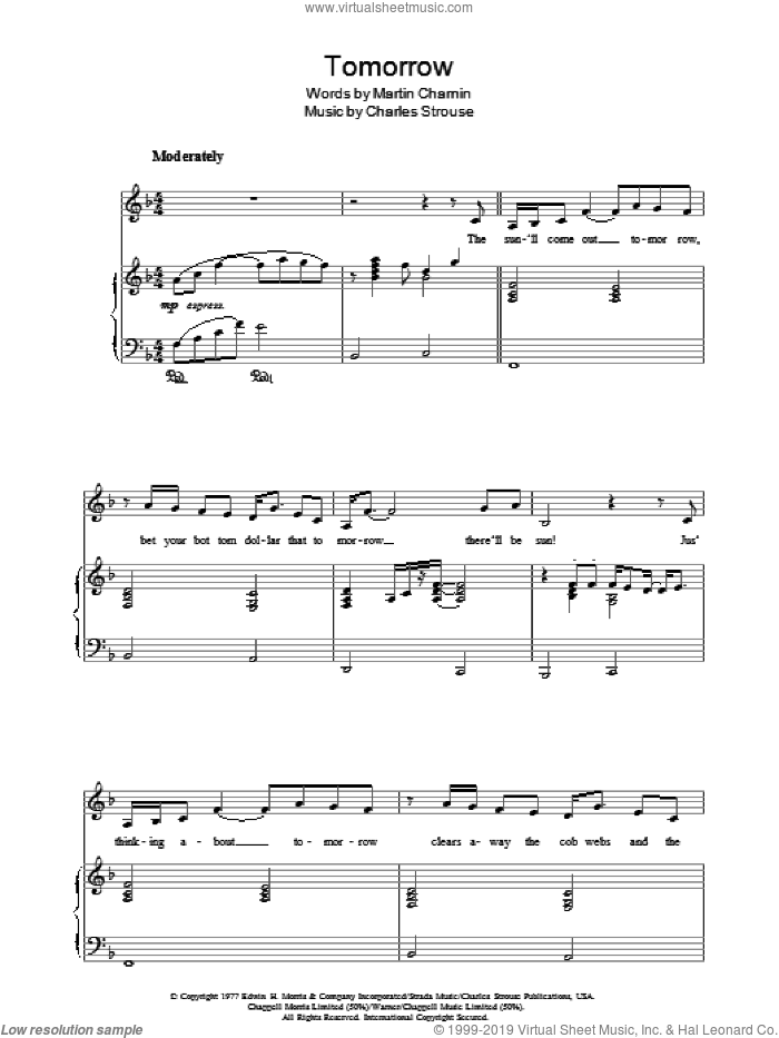 Tomorrow sheet music for piano solo by Charles Strouse, Annie (Musical) and Martin Charnin, easy skill level