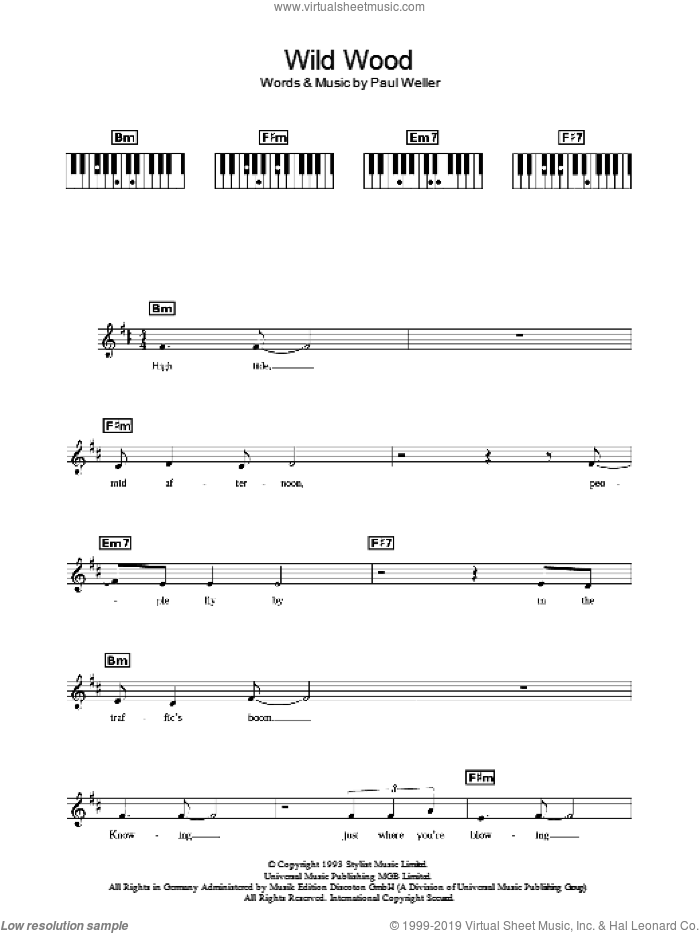 Wild Wood sheet music for piano solo (chords, lyrics, melody) by Paul Weller. Score Image Preview.