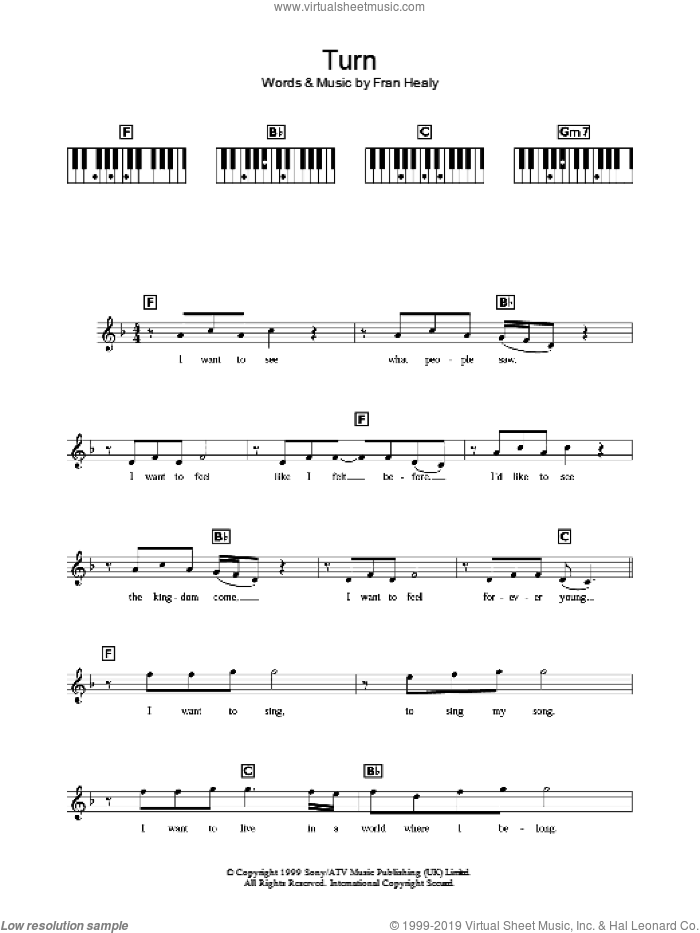 Travis - Turn sheet music for piano solo (chords, lyrics, melody)