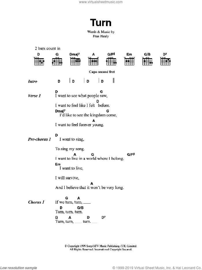 Turn sheet music for guitar (chords) by Merle Travis. Score Image Preview.