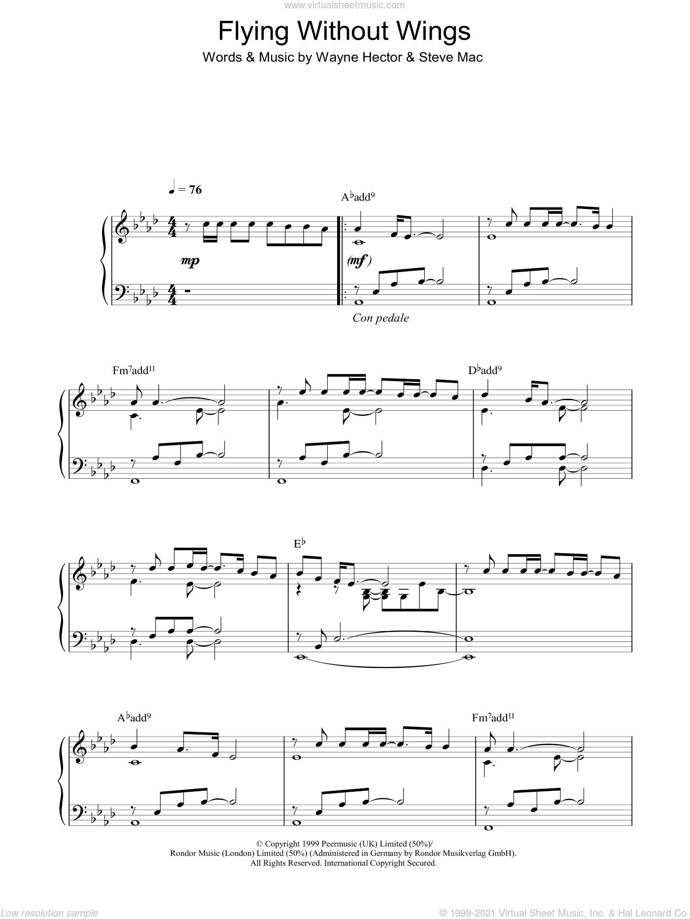 Flying Without Wings sheet music for piano solo by Westlife, Steve Mac and Wayne Hector. Score Image Preview.