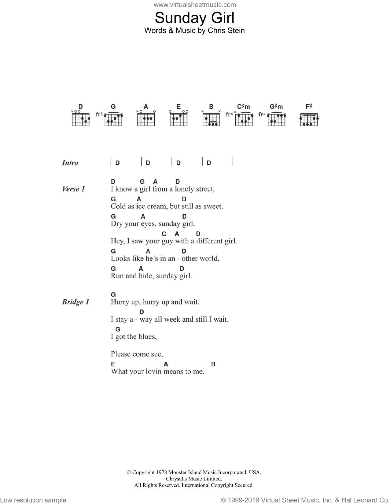 Sunday Girl sheet music for guitar (chords) by Chris Stein and Blondie. Score Image Preview.