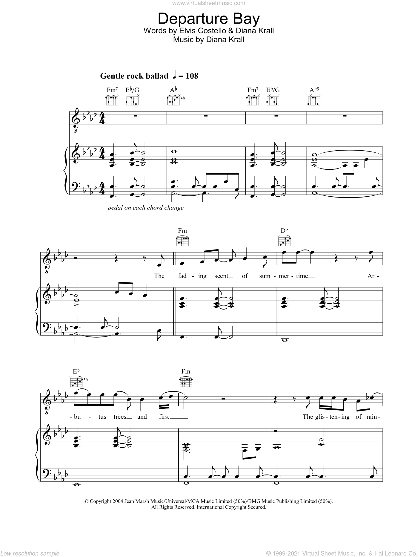 Departure Bay sheet music for voice, piano or guitar by Diana Krall