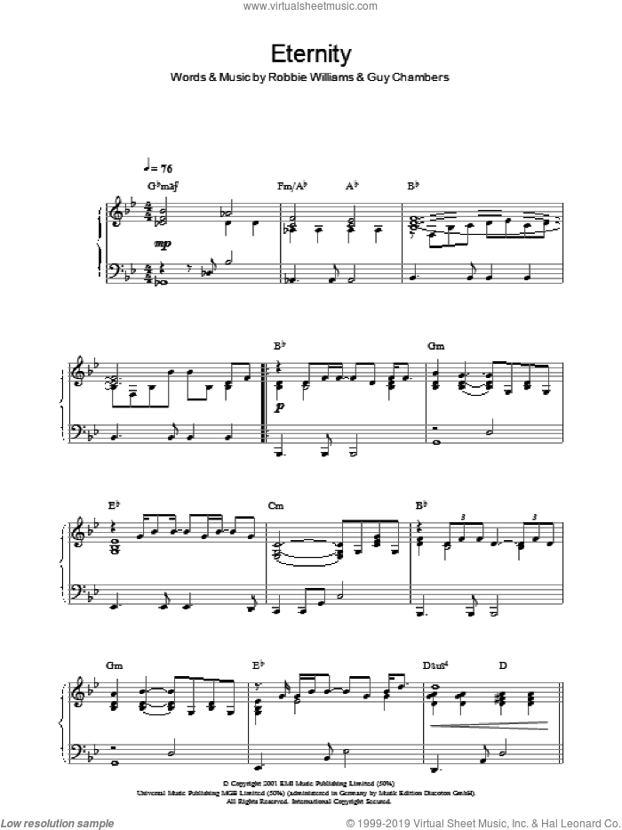 Eternity sheet music for piano solo by Guy Chambers