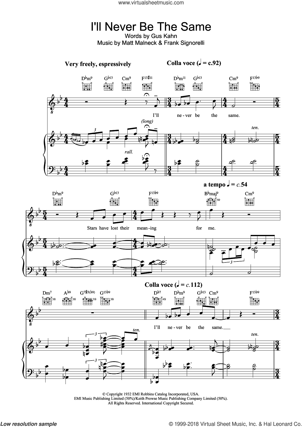 I'll Never Be The Same sheet music for voice, piano or guitar by Diana Krall, Frank Signorelli, Gus Kahn and Matt Malneck, intermediate skill level