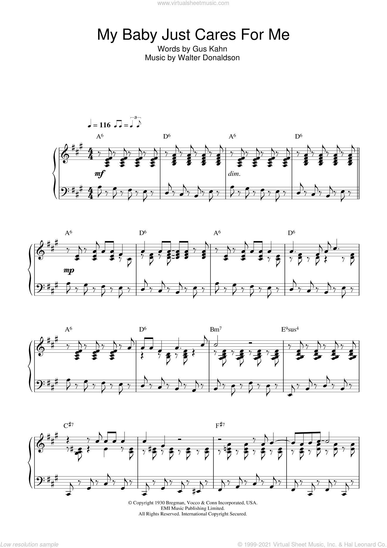 My Baby Just Cares For Me sheet music for piano solo by Nina Simone, Gus Kahn and Walter Donaldson, intermediate skill level