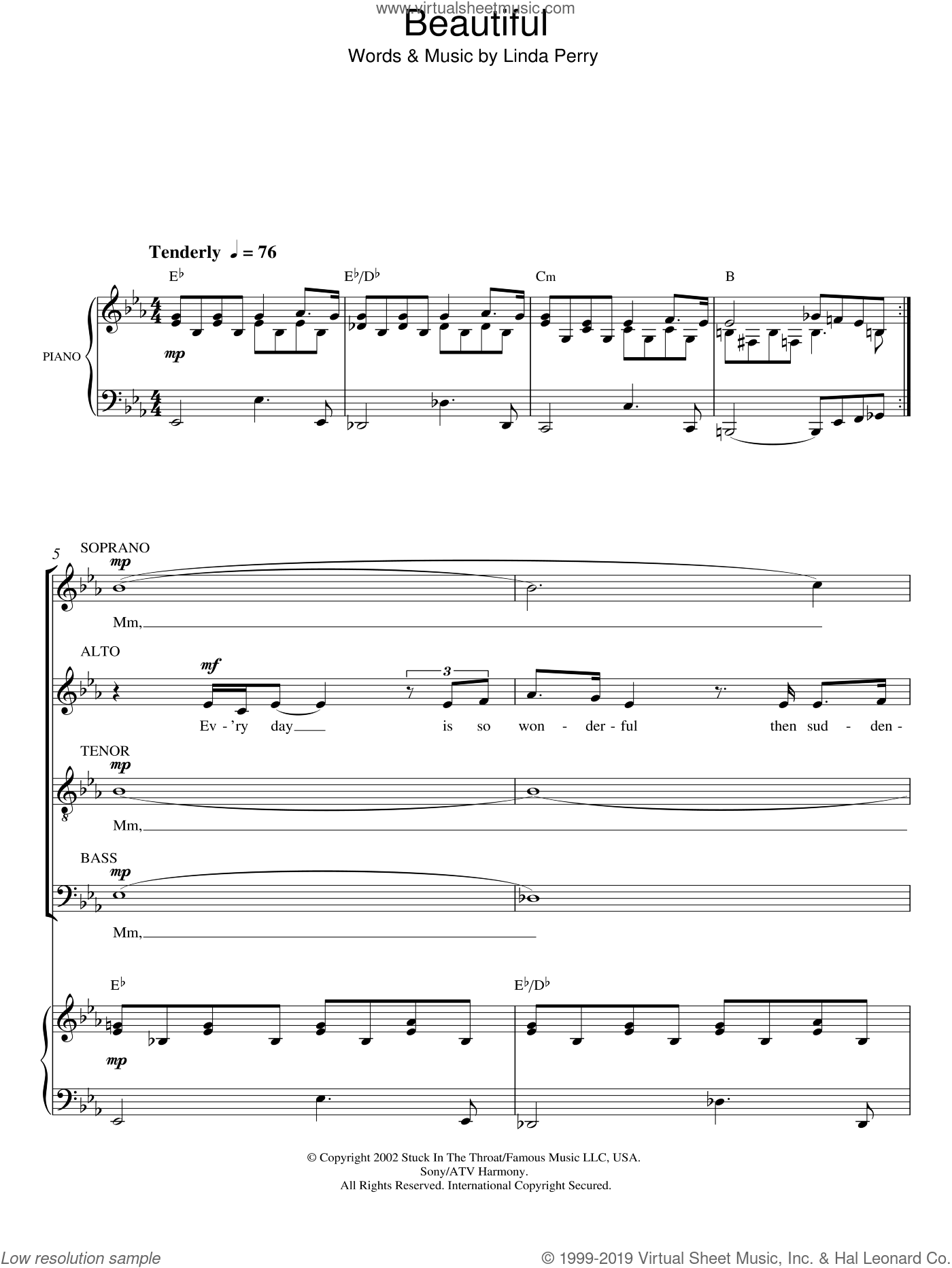 Beautiful sheet music for choir (SATB) by Linda Perry and Christina Aguilera