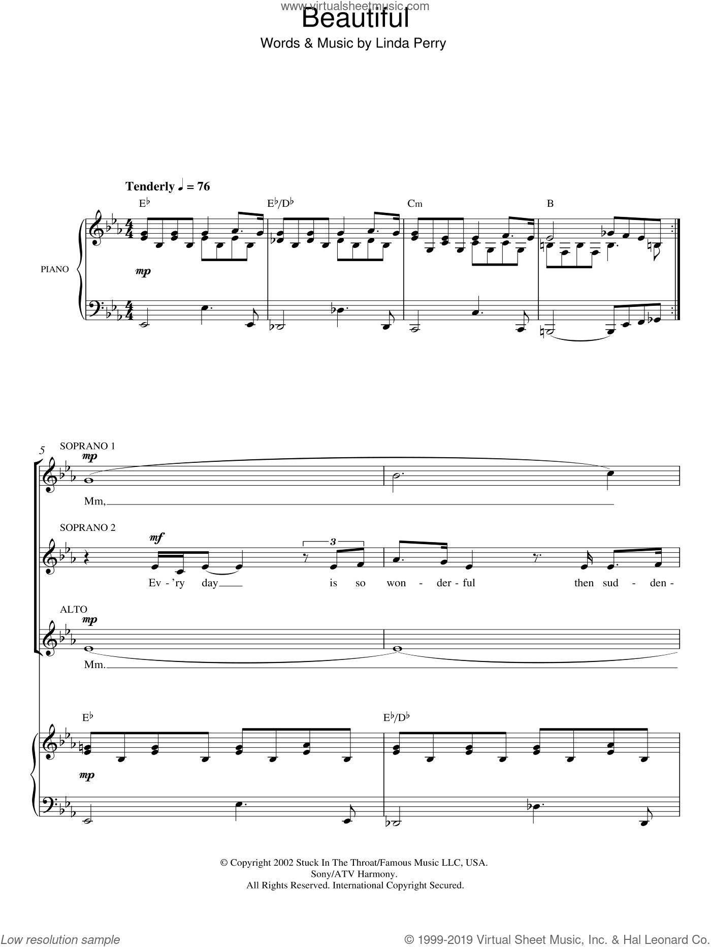 Beautiful sheet music for choir and piano (SSA) by Linda Perry