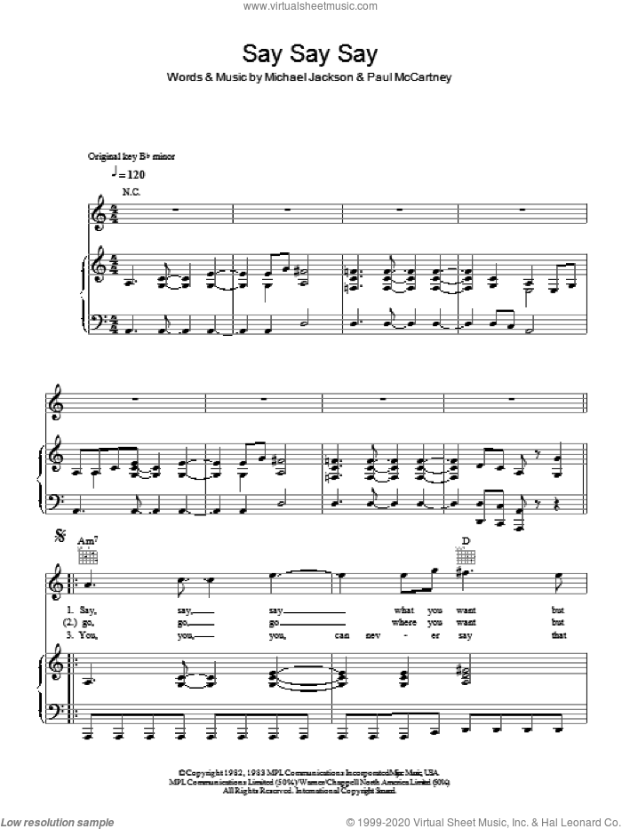 Say Say Say sheet music for voice, piano or guitar by Paul McCartney and Michael Jackson, Michael Jackson and Paul McCartney, intermediate voice, piano or guitar. Score Image Preview.