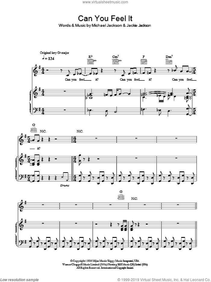 Can You Feel It sheet music for voice, piano or guitar by The Jackson 5, Jackie Jackson and Michael Jackson, intermediate skill level