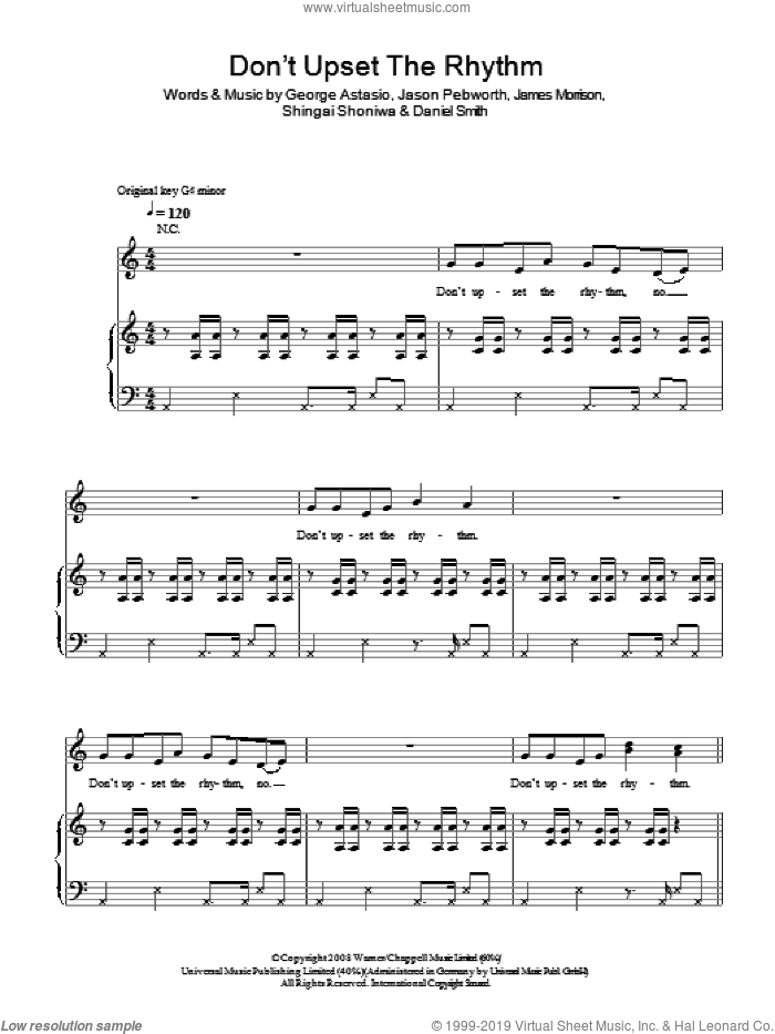 Don't Upset The Rhythm sheet music for voice, piano or guitar by Daniel Smith, Noisettes, James Morrison and Shingai Shoniwa