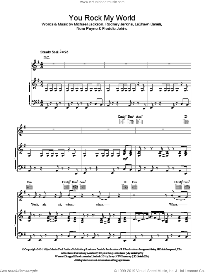 You Rock My World sheet music for voice, piano or guitar by Freddie Jerkins, Michael Jackson, LaShawn Daniels and Rodney Jerkins. Score Image Preview.