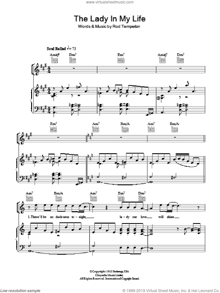 The Lady In My Life sheet music for voice, piano or guitar by Michael Jackson and Rod Temperton, intermediate skill level