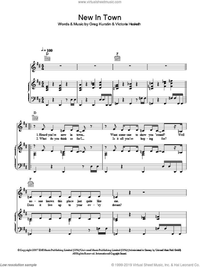 New In Town sheet music for voice, piano or guitar by Greg Kurstin and Victoria Hesketh. Score Image Preview.