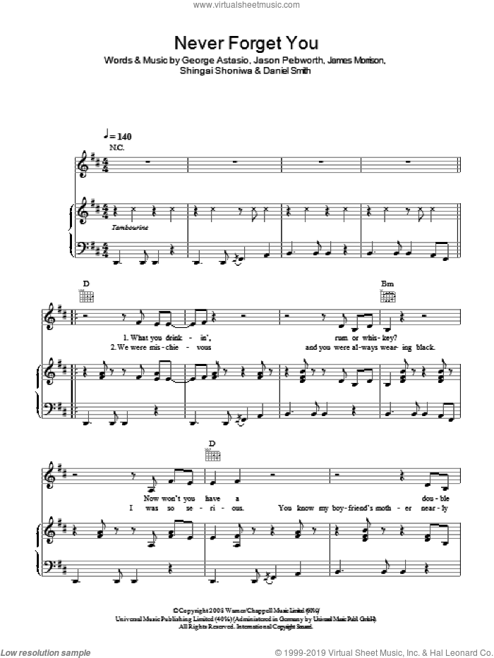 Never Forget You sheet music for voice, piano or guitar by Noisettes, Daniel Smith, George Astasio, James Morrison, Jason Pebworth and Shingai Shoniwa, intermediate skill level