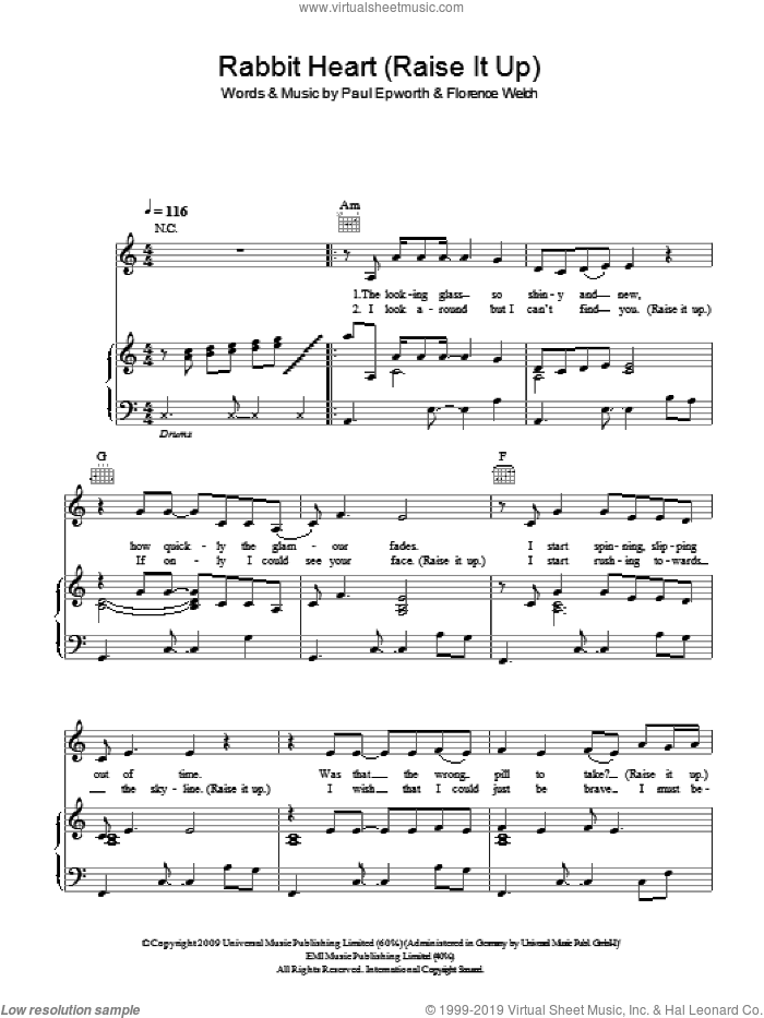 Rabbit Heart (Raise It Up) sheet music for voice, piano or guitar by Florence And The Machine and Paul Epworth, intermediate voice, piano or guitar. Score Image Preview.