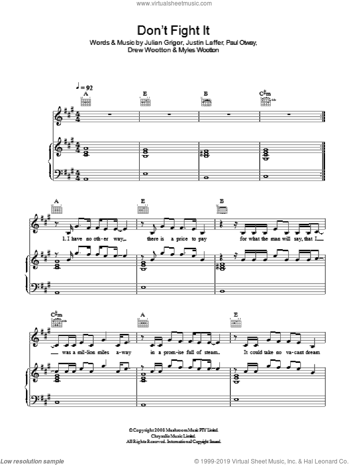 Don't Fight It sheet music for voice, piano or guitar by The Panics, Drew Wootton, Julian Grigor, Justin Laffer, Myles Wootton and Paul Otway, intermediate. Score Image Preview.