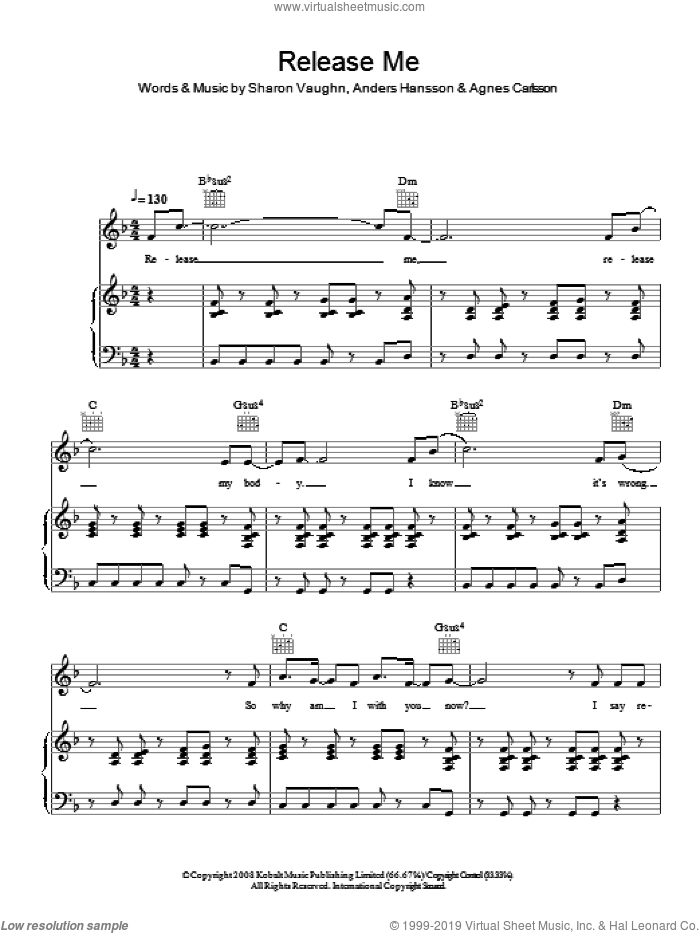 Release Me sheet music for voice, piano or guitar by Agnes Carlsson and Sharon Vaughn