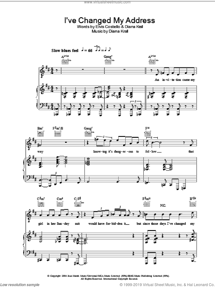 I've Changed My Address sheet music for voice, piano or guitar by Diana Krall. Score Image Preview.