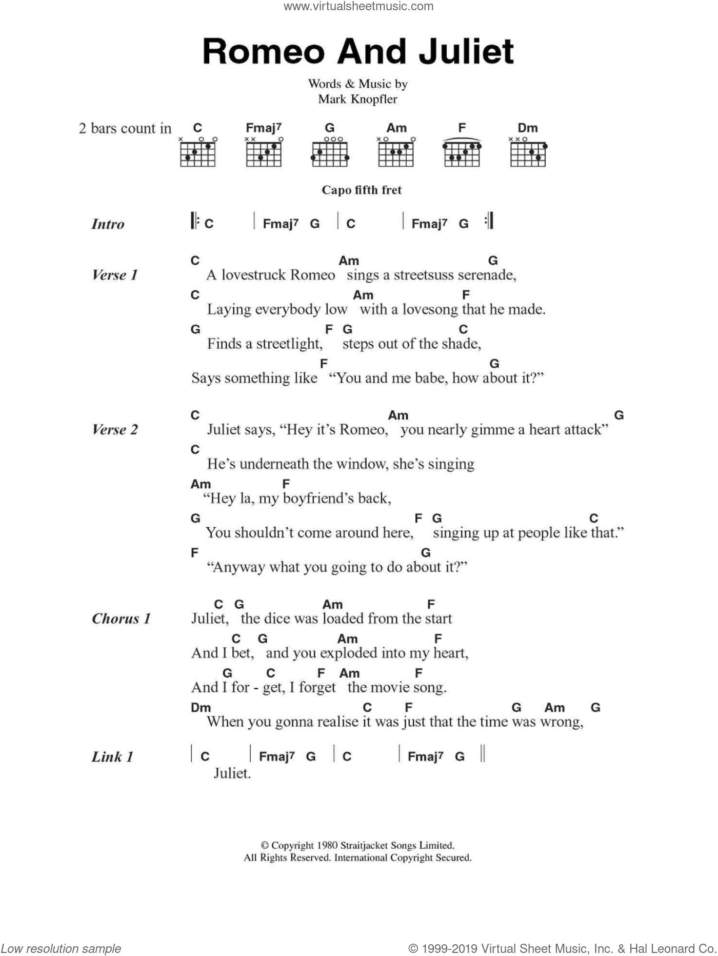Romeo And Juliet sheet music for guitar (chords, lyrics, melody) by Mark Knopfler