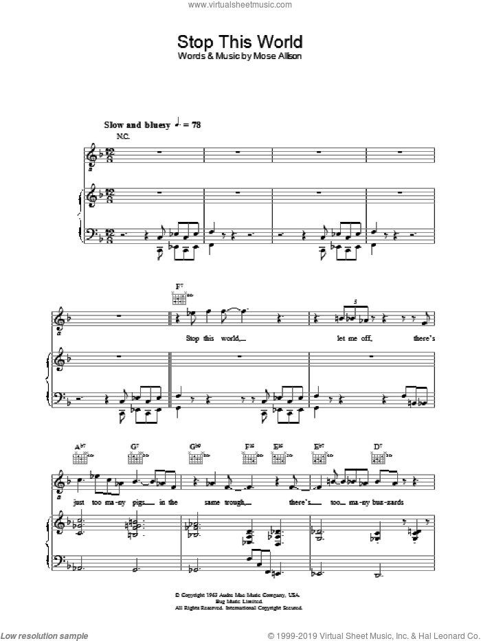 Stop This World sheet music for voice, piano or guitar by Diana Krall. Score Image Preview.