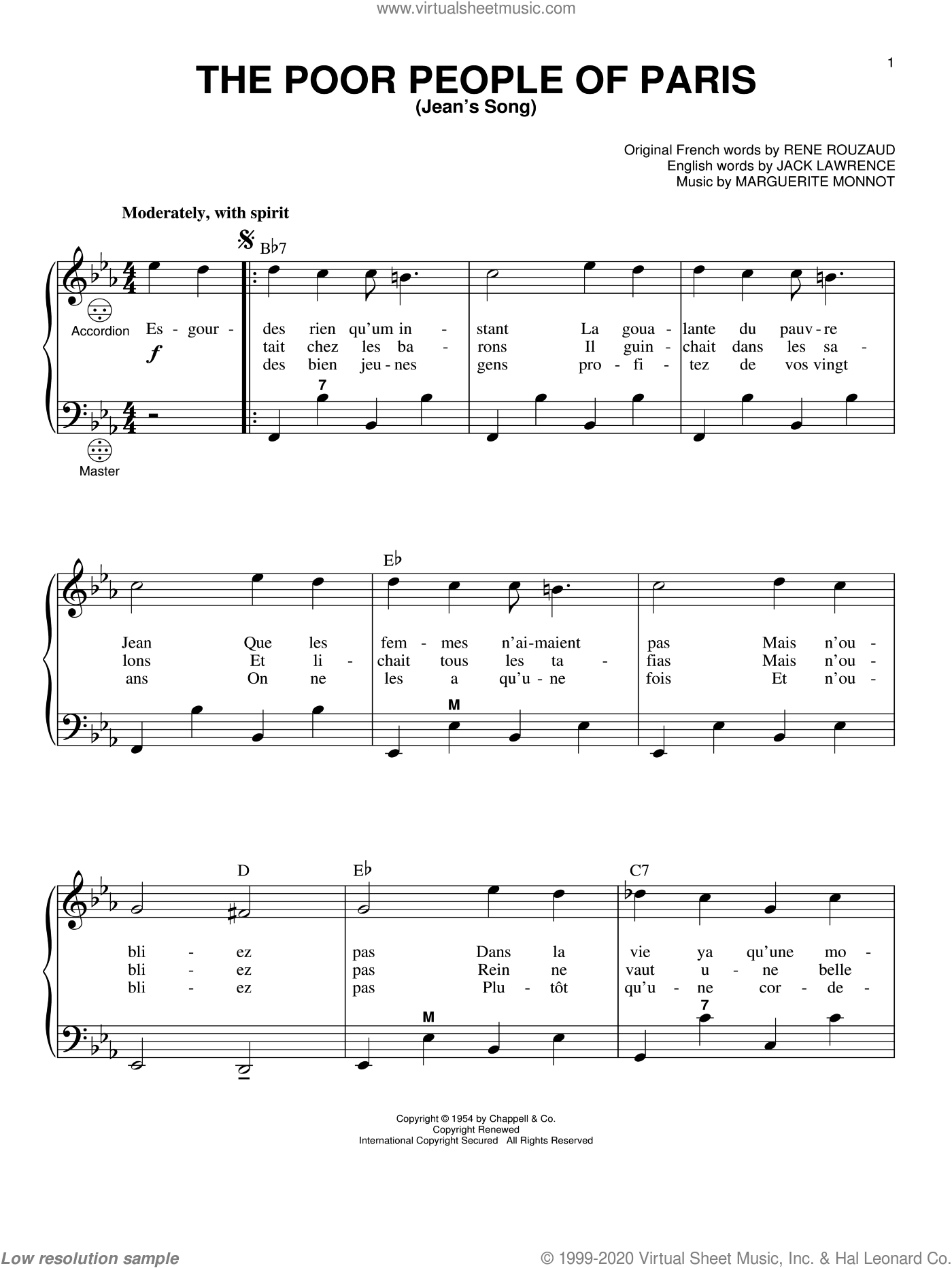 The Poor People Of Paris (Jean's Song) sheet music for accordion by Jack Lawrence, Gary Meisner, Marguerite Monnot and Rene Rouzaud, intermediate skill level