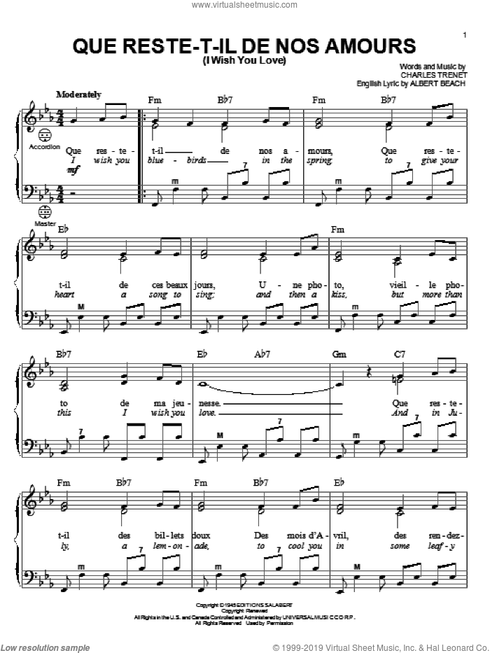 Que Reste-T-Il De Nos Amours (I Wish You Love) sheet music for accordion by Charles Trenet, Gary Meisner and Albert Beach, intermediate skill level