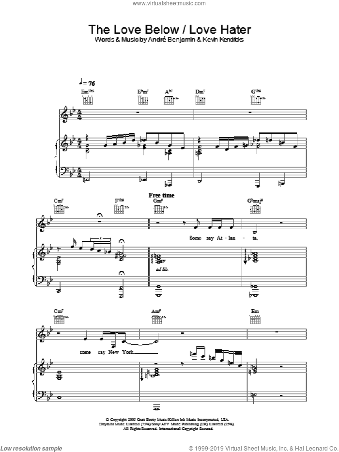 The Love Below / Love Hater sheet music for voice, piano or guitar by OutKast. Score Image Preview.