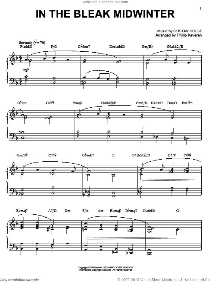 In The Bleak Midwinter, (intermediate) sheet music for piano solo by Gustav Holst, Phillip Keveren and Christina Rossetti, intermediate skill level