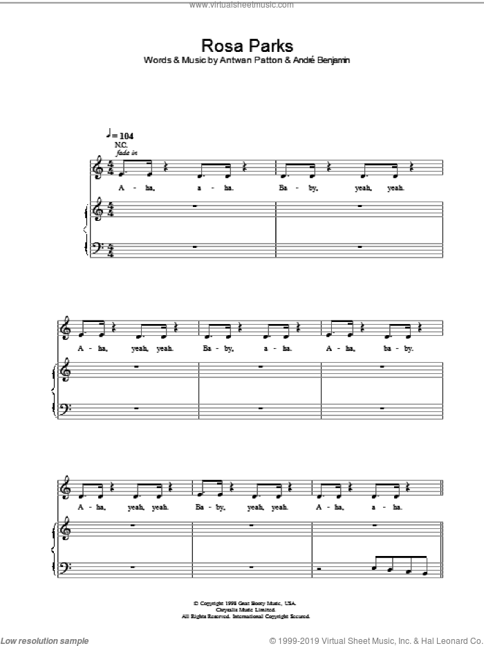 Rosa Parks sheet music for voice, piano or guitar by OutKast