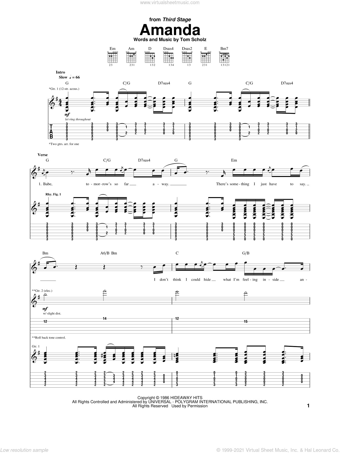 Amanda sheet music for guitar (tablature) by Boston. Score Image Preview.