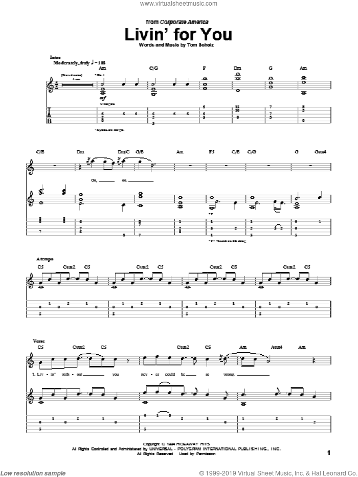 Livin' For You sheet music for guitar (tablature) by Tom Scholz. Score Image Preview.