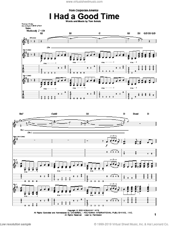 I Had A Good Time sheet music for guitar (tablature) by Boston and Tom Scholz, intermediate skill level