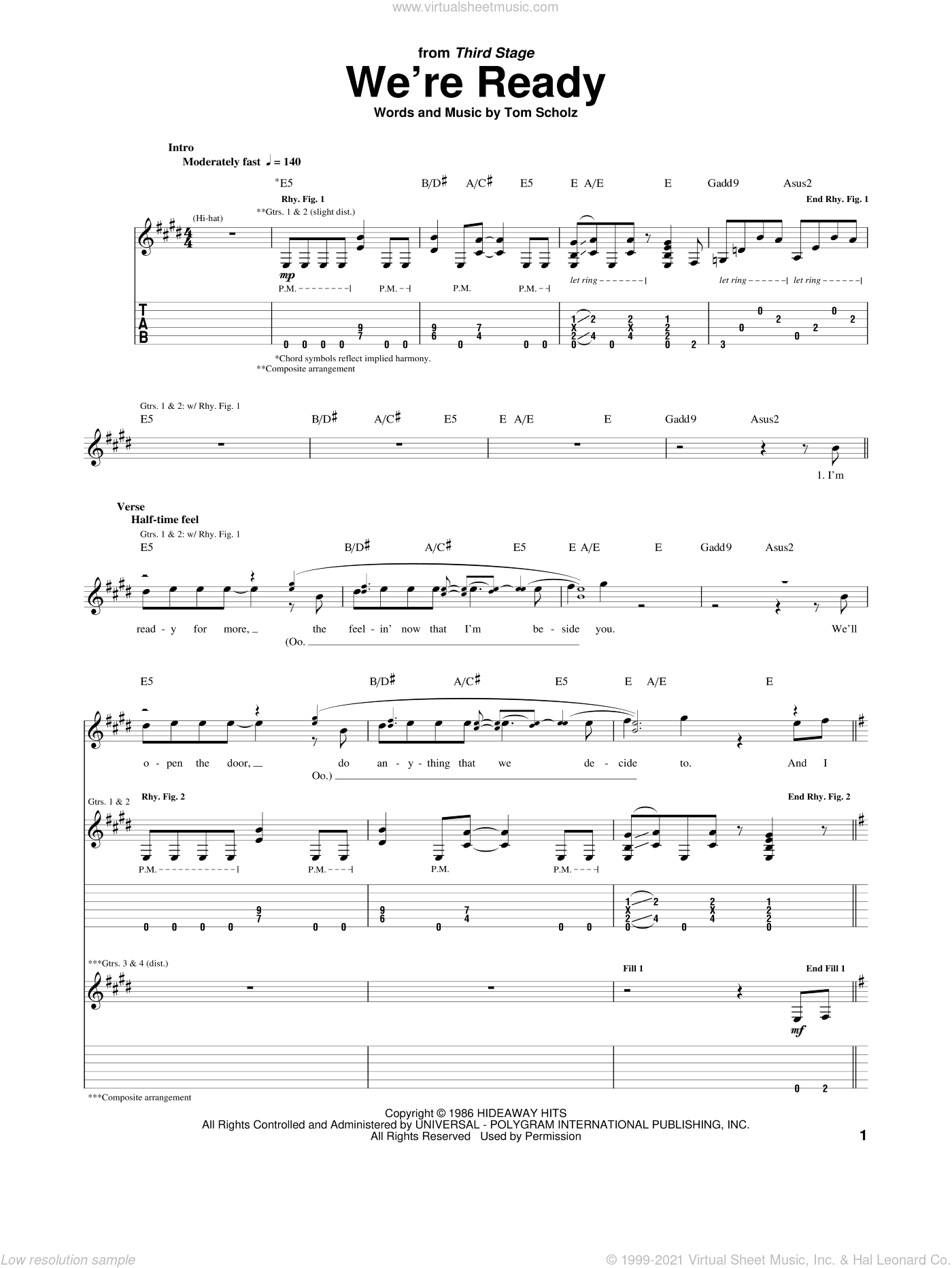 We're Ready sheet music for guitar (tablature) by Tom Scholz. Score Image Preview.